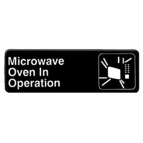 "Thunder Group Plis9324Bk ""Microwave Oven In Operation"" Information Sign With Symbols, 9 By 3-Inch"