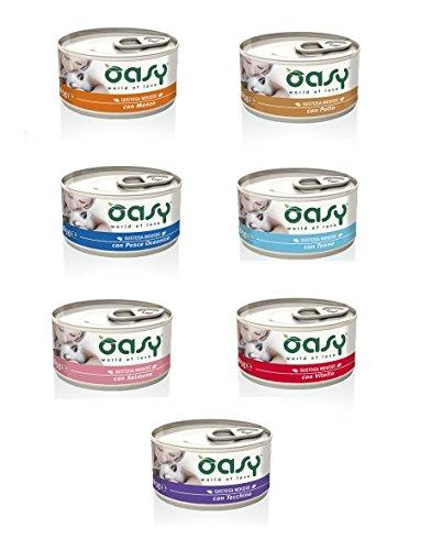 Oasy Cat Mousse 85 gr x 44pz Mix Tonno Salmone Pollo Pesce Oceanico Manzo Vitello Tacchino Cibo alimento umido completo gatto