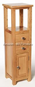 New Natural Solid Oak Slim Small Compact Bathroom Console Hall Corner Bedside Phone Telephone Storage Cupboard Cabinet Tower Unit Table
