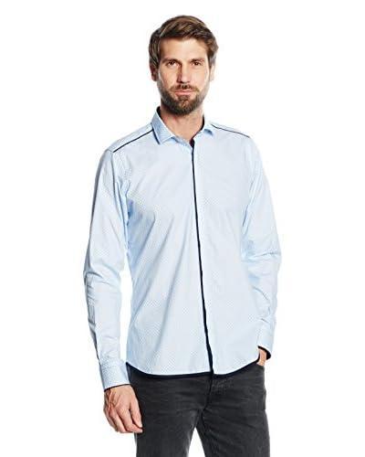 Mattschwarz Camicia Uomo Modern Fit [Azzurro Artico]