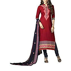 Destiny Enterprise Embroidered Cotton Unstitched Party Wear Red Color Dress Material for Women