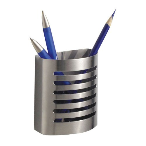InterDesign Forma Magnetic Pencil Cup, Brushed Stainless Steel