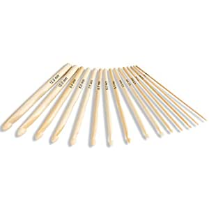 Hochwertiges Bambus Häkelnadeln Set in verschiedenen Stärken 16 Stück unbehandelt original Lumaland