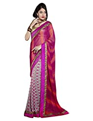 DesiButik's Graceful Pink And Orange Georgette Saree