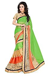 Apka Apna Fashion Multi color Embroidery Geogrette Outstanding Saree With Blouse