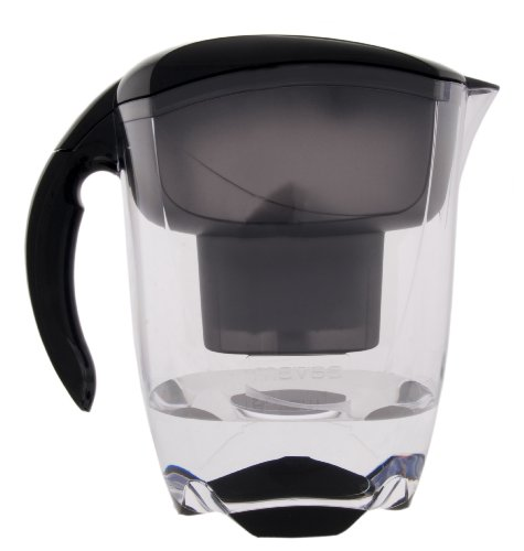 MAVEA 1001125 Elemaris XL 9-Cup Water Filtration Pitcher, Black