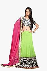 Cozer Womens Georgette Lehenga Choli (Ewhfcl1 _Light Green::Pink::Black _Free Size)