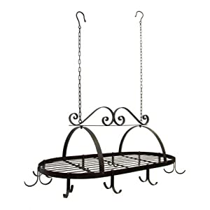 Tuscan Wrought Iron Metal Hanging Pot Holder [Kitchen]