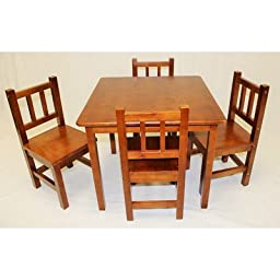 Kids 5 Piece Table and Chair Set Color: Honey Oak