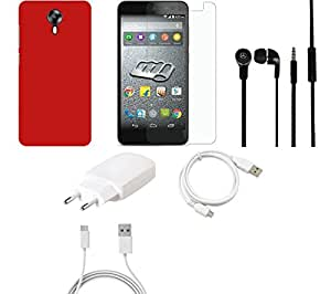 NIROSHA Tempered Glass Screen Guard Cover Case Charger Headphone USB Cable car for Micromax Canvas Express 2 - Combo
