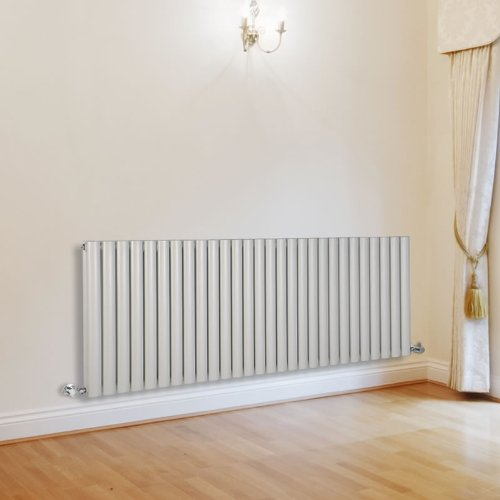 Milano Aruba - White Designer Double Radiator - Curved Panels - Luxury Central Heating Vertical 'Oval' Columns - 635mm x 1647mm