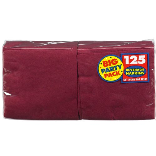 Amscan Big Party Pack 125 Count Beverage Napkins, Berry