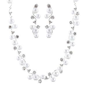 ACCESSORIESFOREVER Bridal Wedding Jewelry Set Crystal Rhinestone Pearl White