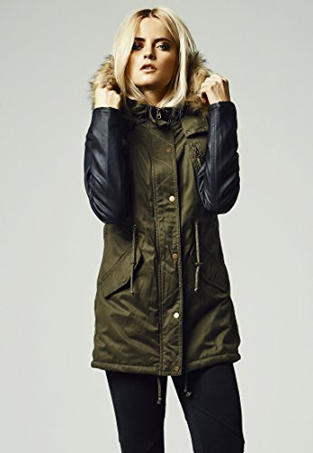 Ladies Leather Imitation Sleeve Parka olv/blk S
