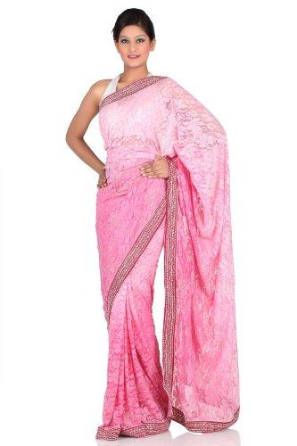 Chhabra555 Pink Net Net Saree (multicolor)