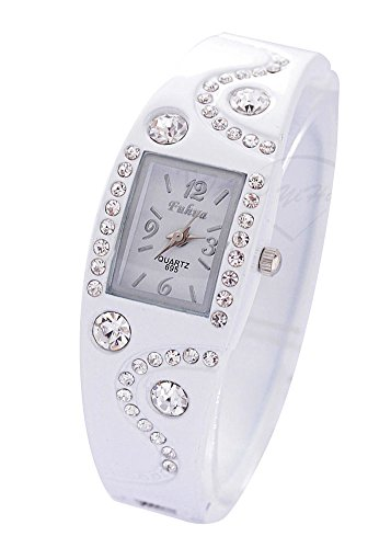 Shot-In Womens Girls Chic Bracelet Bangle Wave Rhinestone Crystal Wrist Watch (White)