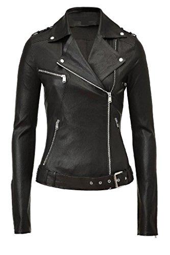 KGN FASHION Women Leather Jacket WL168 XS Black