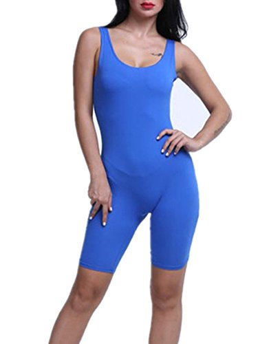 [women Sexy Sleeveless Solid bodycon Sport Short jumpsuit Rompers (X-Large, Blue)] (Blue Spandex Suit)