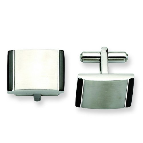 Stainless Steel Satin w/ Black Acrylic Cuff Links. Metal Weight- 18.37g.