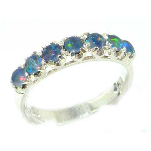 Solid English Sterling Silver Womens Colorful Opal Vintage Style Eternity Band Ring - Size 6.25 - Finger Sizes 5 to 12 Available