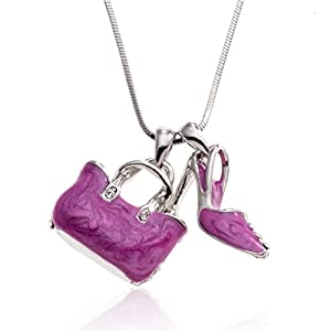 Crystal and Hot Pink Handbag and Shoe Pendant Necklace