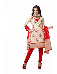 AASRI Party Wear Cotton Embroidered 3 Piece Unstitched Salwar Suit 6005