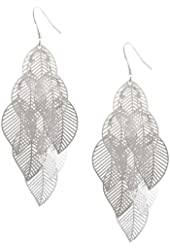 ANDI ROSE Fashion Bohemia Jewelry Leaves 925 Sterling Silver Plated Earrings for Women Girls (Silver-I)