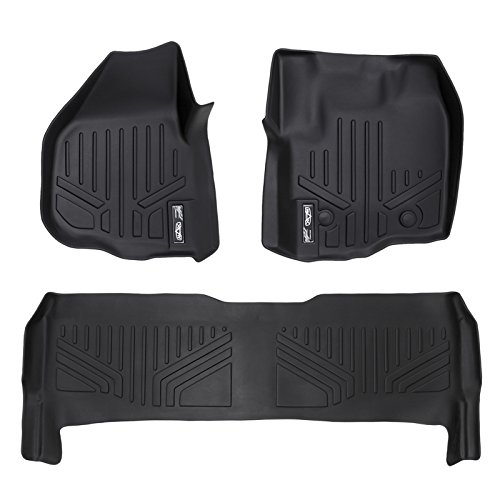 MAXFLOORMAT Floor Mats for Ford F-250 / F-350 Crew Cab (With Raised Pedal) (2012-2016) Complete Set (Black) (2015 Ford F250 Floor Mats compare prices)