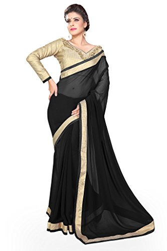 Sourbh Sarees Black Faux Georgette Lace Work Saree for Women Party Wear