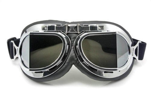 Neverland Vintage Motorcycle Bike Glasses Scooter Aviator Cruiser Helmet Pilot Goggles Silver