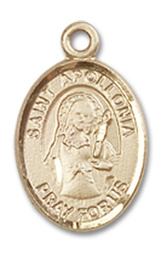 "Gold Filled St. Saint Apollonia Pendant 1/2 X 1/4"" Inches 9005Gf--Comes With 18"" Inch Gold Filled Lite Curb Chain In A Grey Velvet Gift Box Patron Saint Of Dental Diseases"