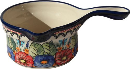 "Polish Pottery Saucepan From Zaklady Ceramiczne Boleslawiec #269-149 Art Unikat Signature Pattern, Height: 3"" Diameter: 5"" Capacity: 17 Oz"