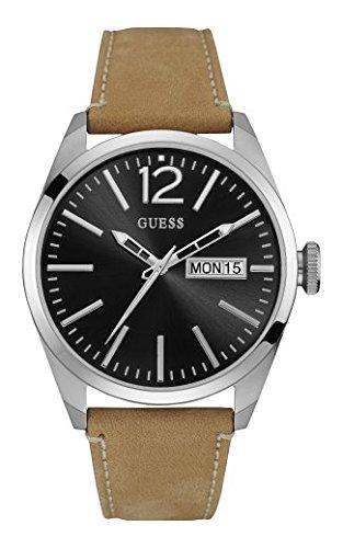 Guess W0658G7 - Reloj con correa de piel, para hombre, color negro / marrón