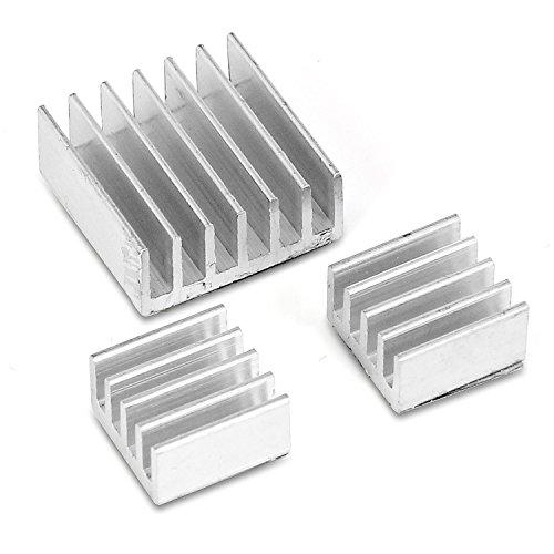 Aukru® 3 Set Dissipateurs Aluminium ensemble du dissipateur thermique pour Raspberry Pi 3 Model B/ Pi 2 Model B et Pi B+