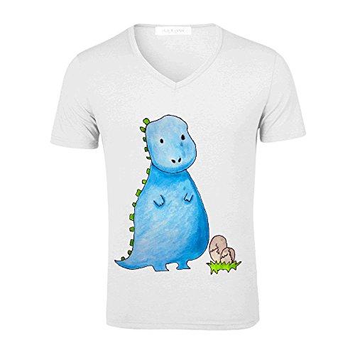 Likeu Baby Dino Mens V Neck Short Sleeve T Shirt White