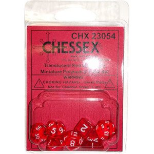 Red Transparent Mini 10Mm (3/8In) Dice Set Of 7 Chessex