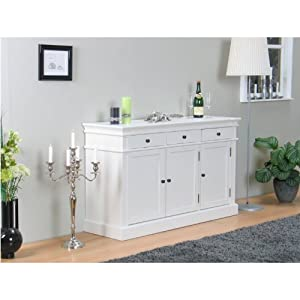 amaretta sideboard schrank kommode anrichte highboard landhaus stil antik patiniert wei amazon. Black Bedroom Furniture Sets. Home Design Ideas