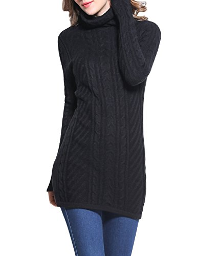 Rocorose Women's Cowl Neck Sweater Long Sleeves Whorled Knitted Pullover Black L (Acrylic Cowl Neck Sweater compare prices)