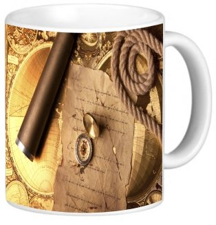 Rikki Knighttm Vintage Navigation Compass Map And Telescope Design 11 Oz Photo Quality Ceramic Coffee Mug Cup - Fda Approved - Dishwasher And Microwave Safe