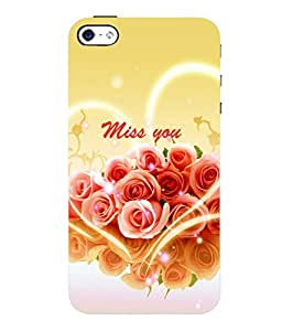 printtech Flower Miss You Love Back Case Cover for Apple iPhone 4::Apple iPhone 4S