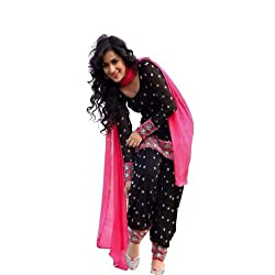 Shree Ashapura Creation Women`s Georgette Embroidered,Polka Print Semi-stitched Salwar Suit Dupatta Material(Black & Pink Duptta)