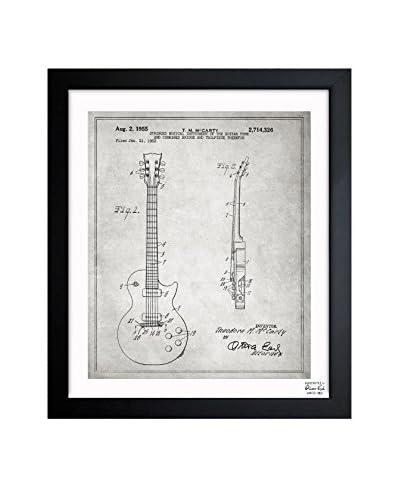 Oliver Gal Gibson Les Paul Guitar, 1955 - Gray Framed Art