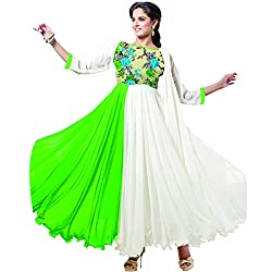 Ladli Creation Women's Georgette Semi Stitched Dress Material (LC_723201_Green White_Free Size)