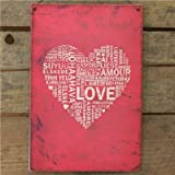 Metal Sign Love In Many Languages - 20 X 30 Red Wall Signby Carousel Home