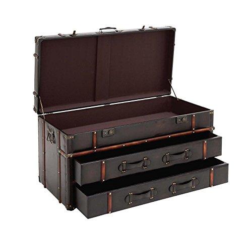 "Deco 79 55747 Wood Leather Coffee Table, 40"" x 21"", Dark Brown 2"