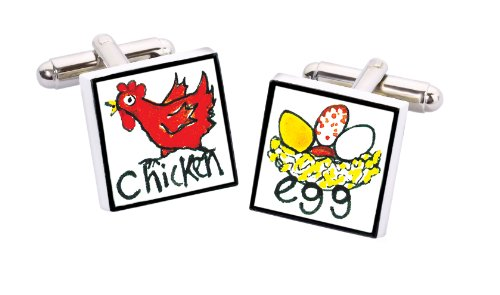 Sonia Spencer England Bone China Square Silver Plated Back Hand Decorated Chicken Egg Cufflink