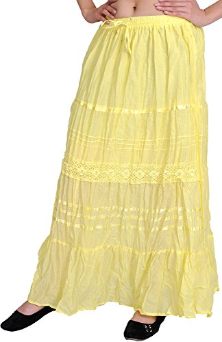 Exotic India Plain Long-Skirt With Lace And Crochet