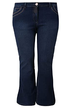 """Yoursclothing Plus Size Womens Indigo Bootcut Jeans With Stitch Detail - Petite Size 28"""" / 22 Blue"""