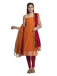 Orange Zari Work Cotton Unstitched Fancy Unstitched Dress Material