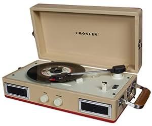 Crosley CR40-RE Mini Turntable with Full-Range Stereo Speakers (Red & Cream)